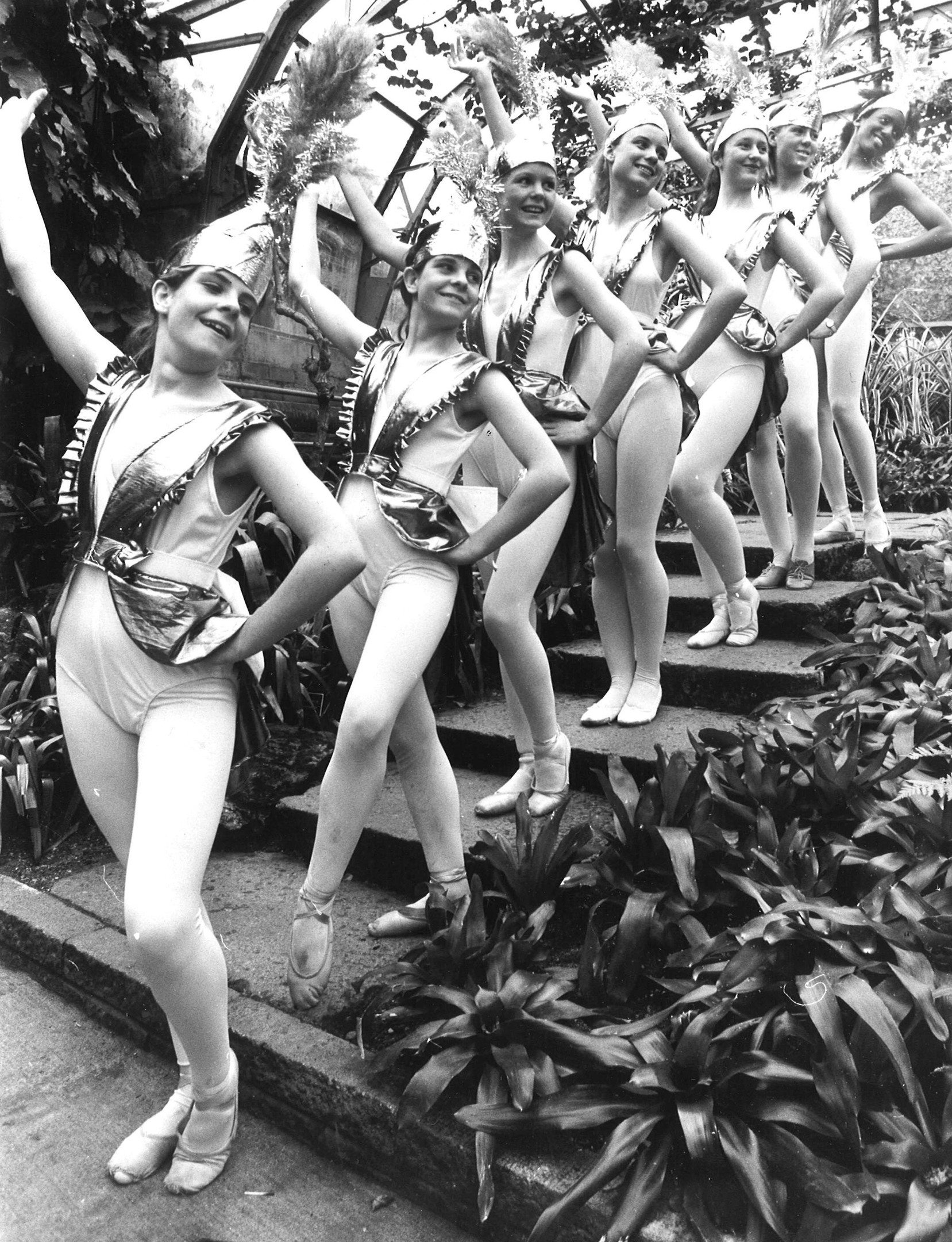 The Bluebell Girls give Duthie Park Winter Gardens a preview of the Eileen Ewen Dance Show in 1986
