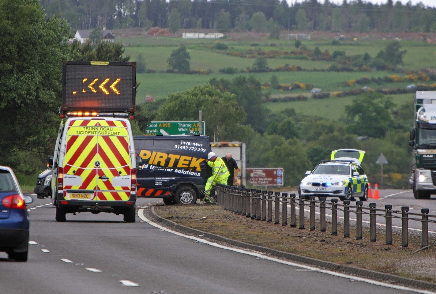The A9 was partially closed after a van crashed on Monday morning