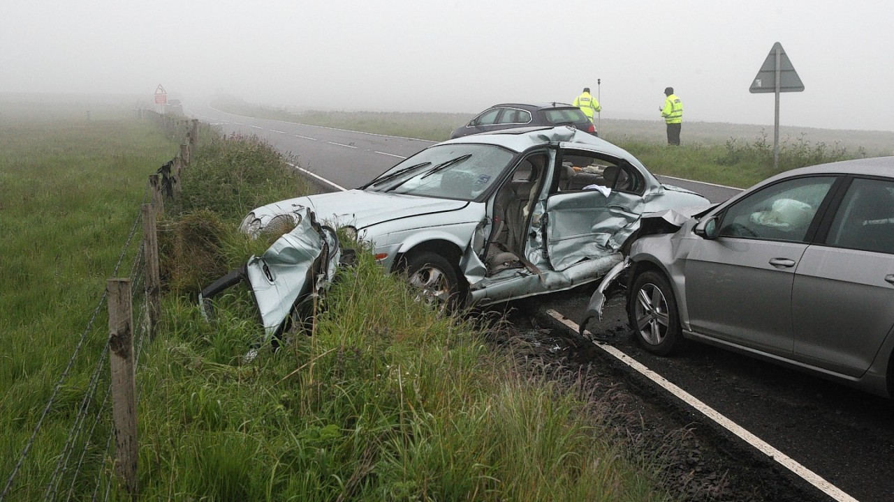 Scene of 5-vehicle fatal RTC on the A9 near Dunbeath. Picture: Andrew Smith