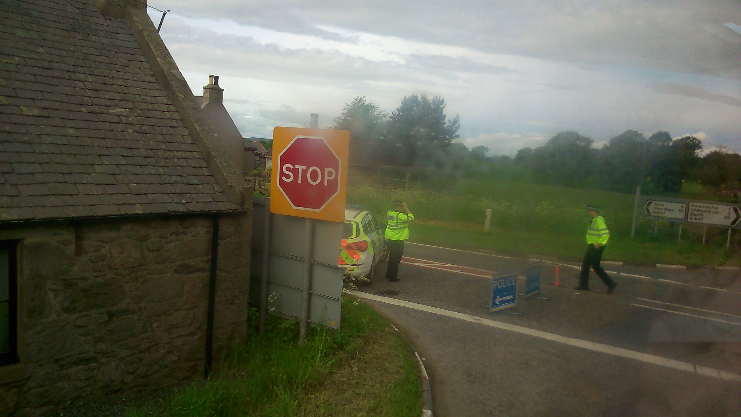 Police direct traffic following the crash