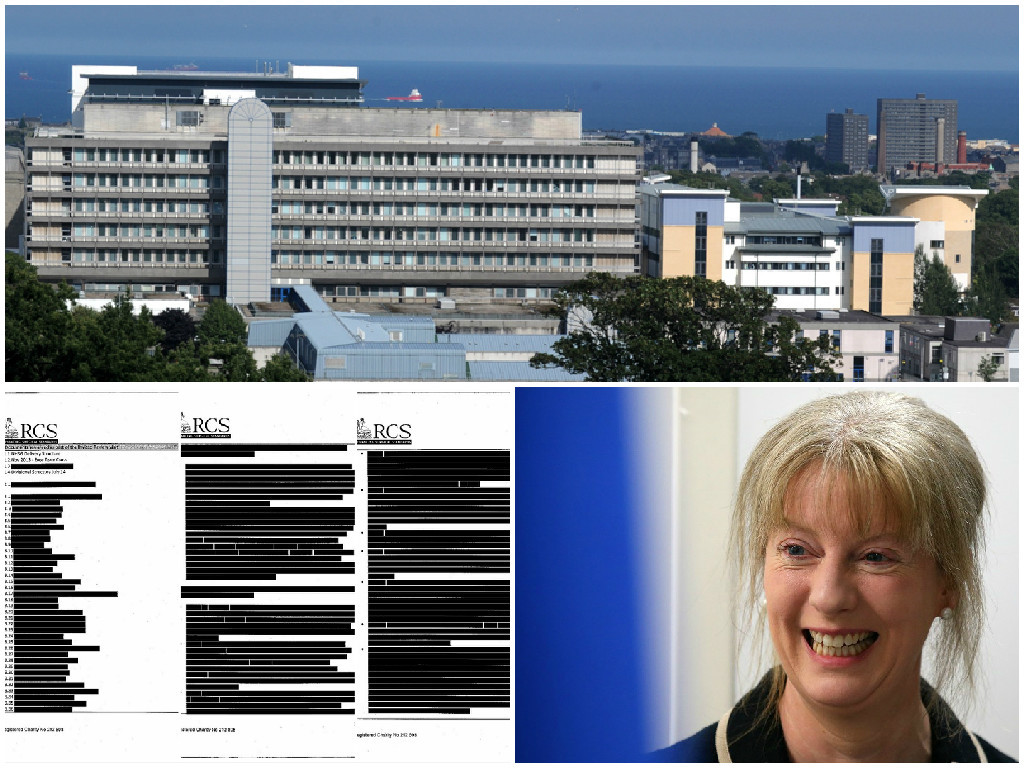 Shona Robison has been quizzed on the NHS Grampian and the RCS report officials refused to reveal the details of