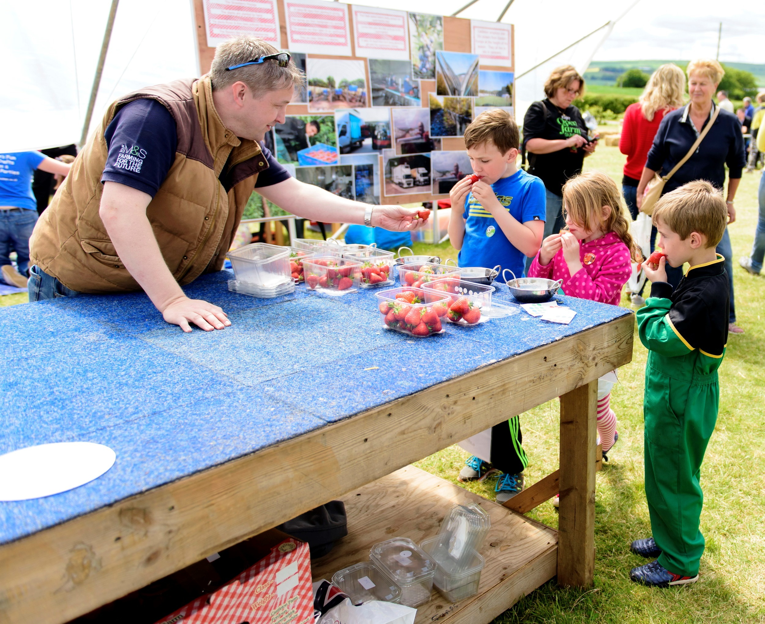 Andy Mitchell Agronomist at MS helps Max and Lauren Davies  Nathan Dickson take the strawberry taste test (2)