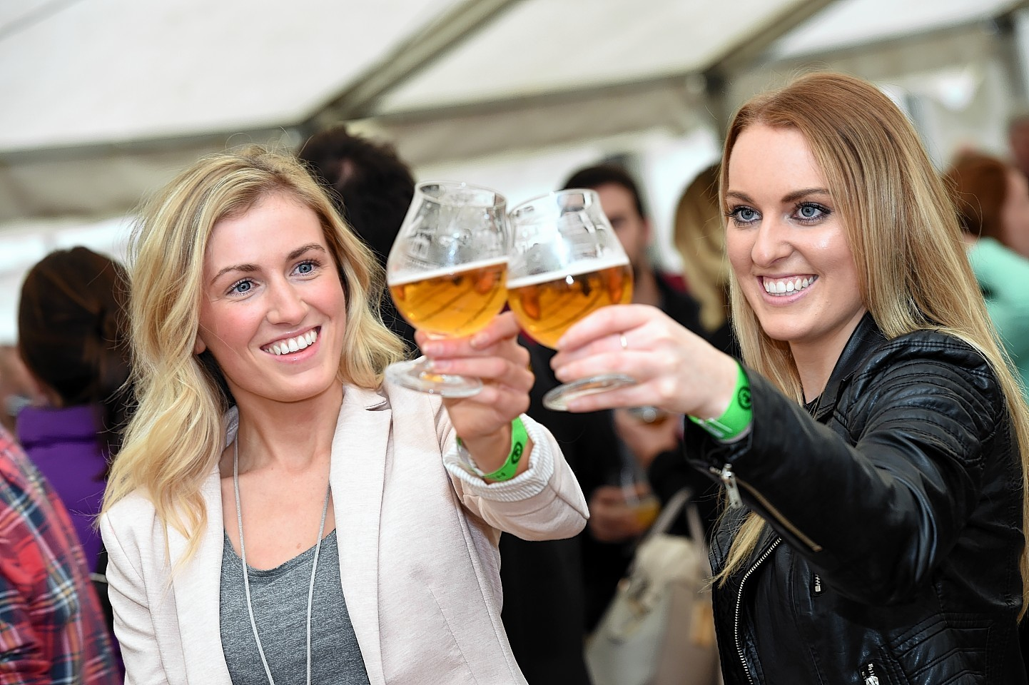 Karen Sinclair and Claire Millar at the inaugural Midsummer Beer Happening in Stonehaven's Baird Park. Picture by Kevin Emslie