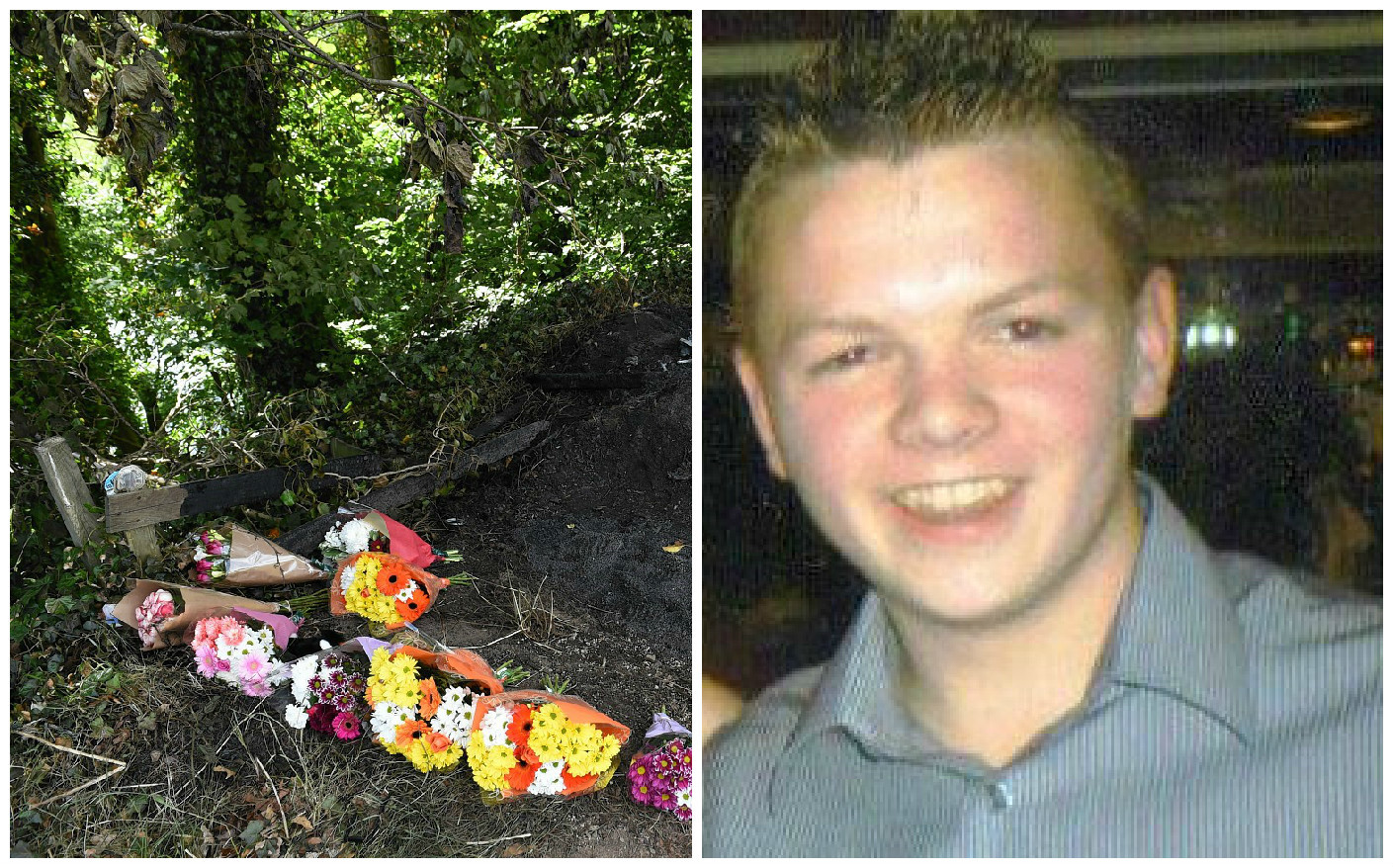 Flowers at the scene where Jordan Milne died