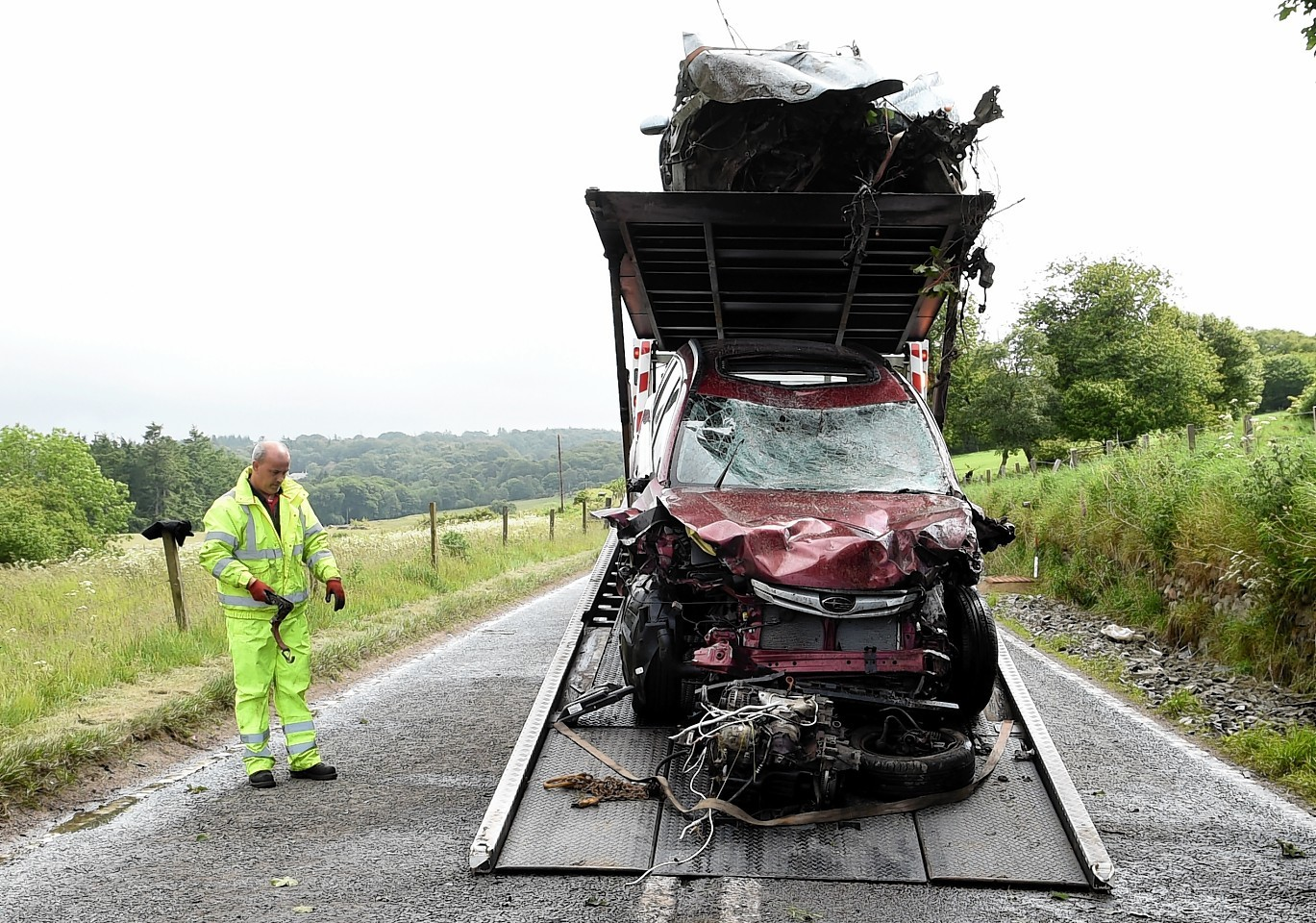 The vehicles following the crash on the South Deeside Road. Picture by Jim Irvine.