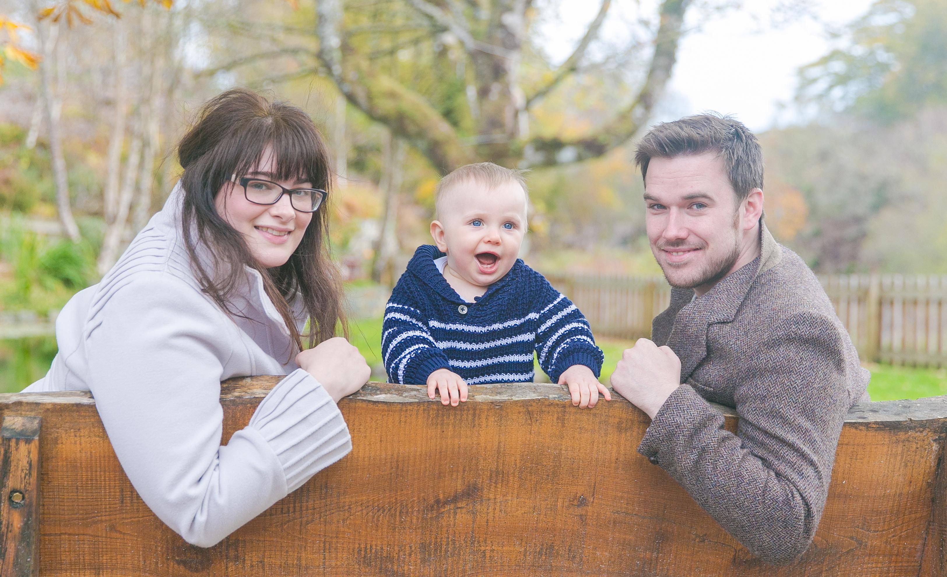 David Nicolson, his wife Victoria and their son Finlay.