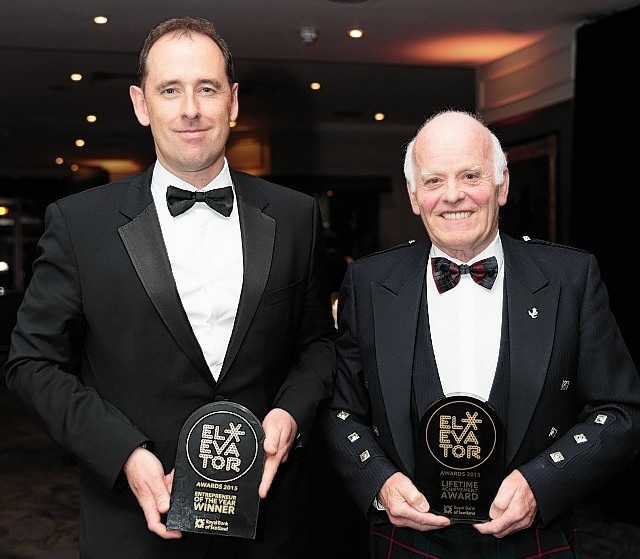 Graeme Bone, CEO Drum Property, winner of Entreneur of the year and Jimmy Milne, Chairman and CEO of Balmoral Group wins life time achievement award.