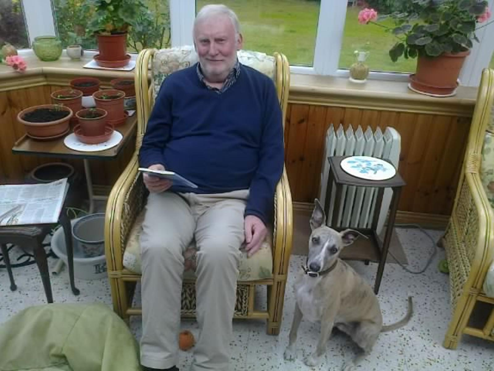 Eric Sinclair and his new whippet, Archie