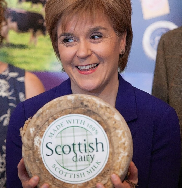 Nicola Sturgeon displays the new dairy brand