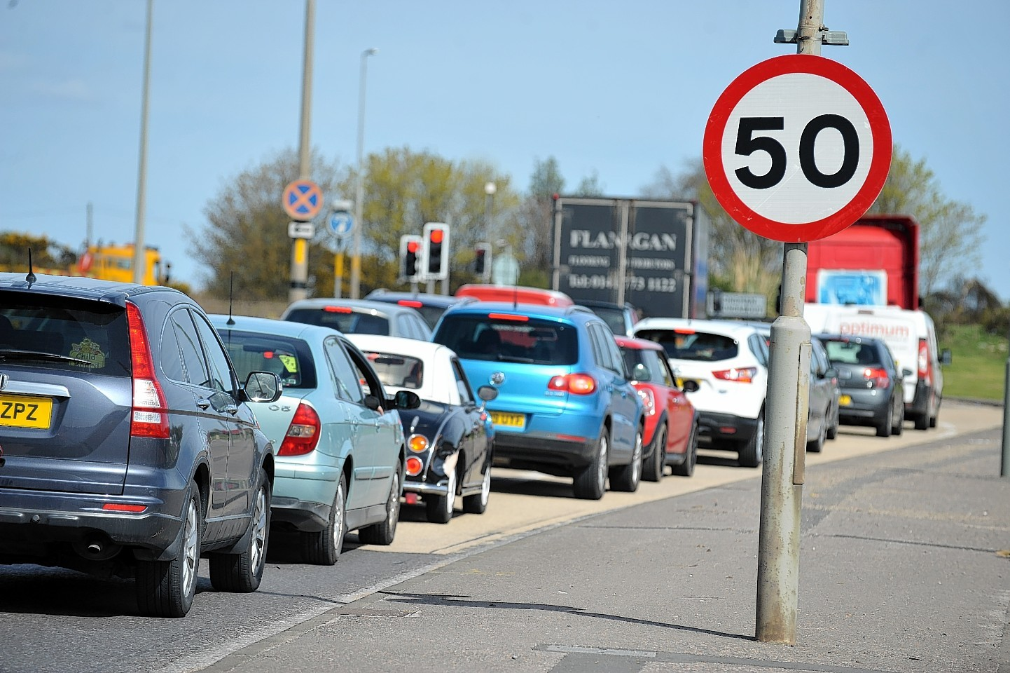 Traffic queuing at the Longman roundabout, Inverness.