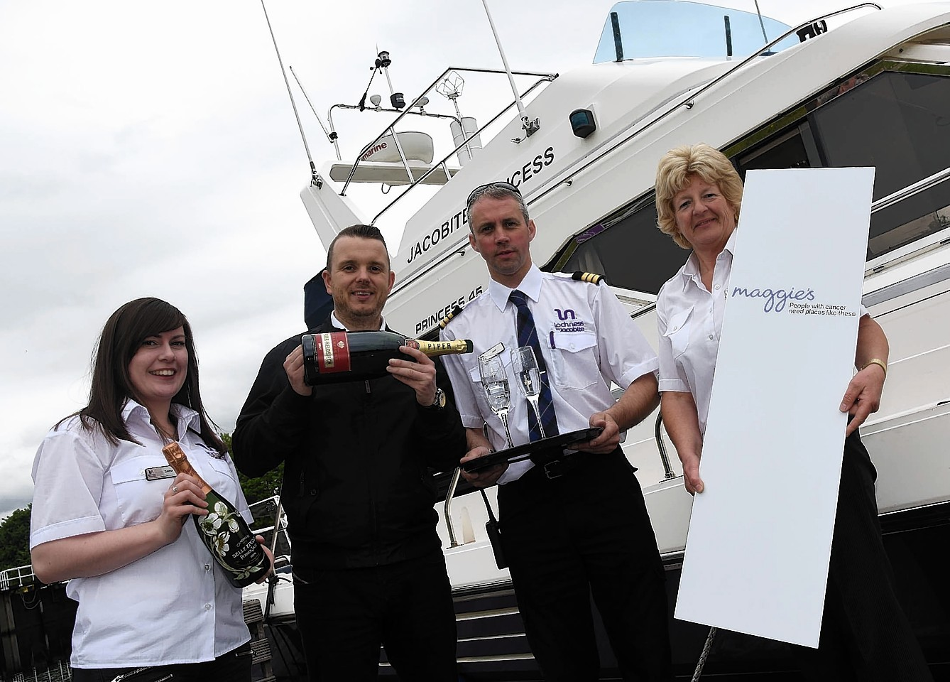 Emma Cowling,  Andrew Benjamin, Maggie's Highland with Keith Stewart, and Alison Fenton get ready for the cruise