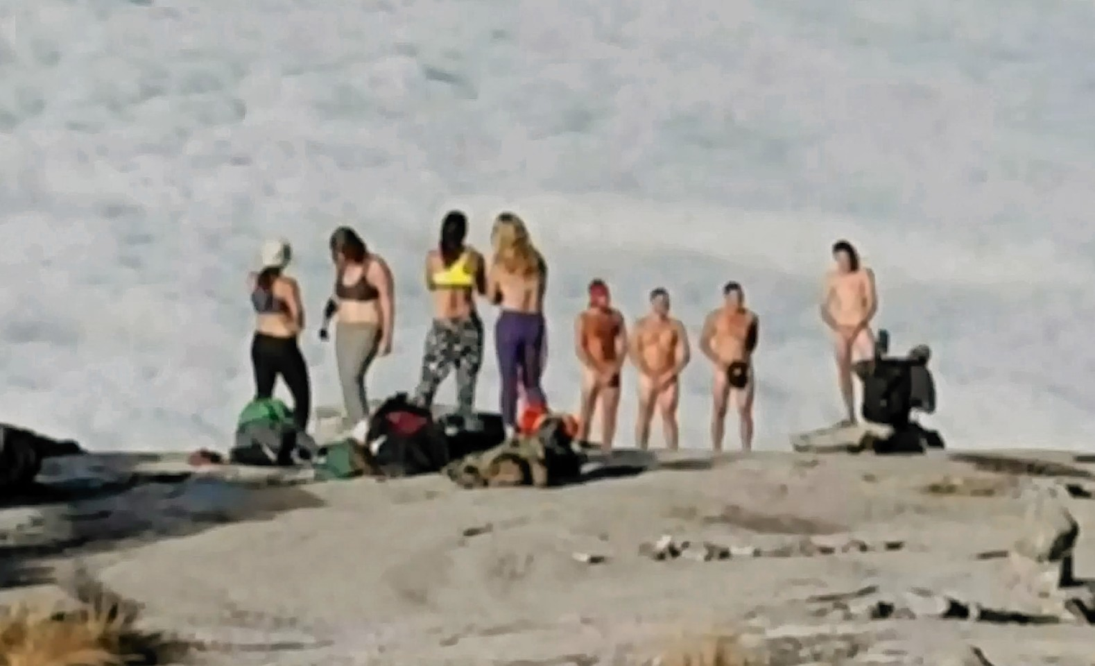 Tourist disrespecting Mount Kinabalu by getting naked.