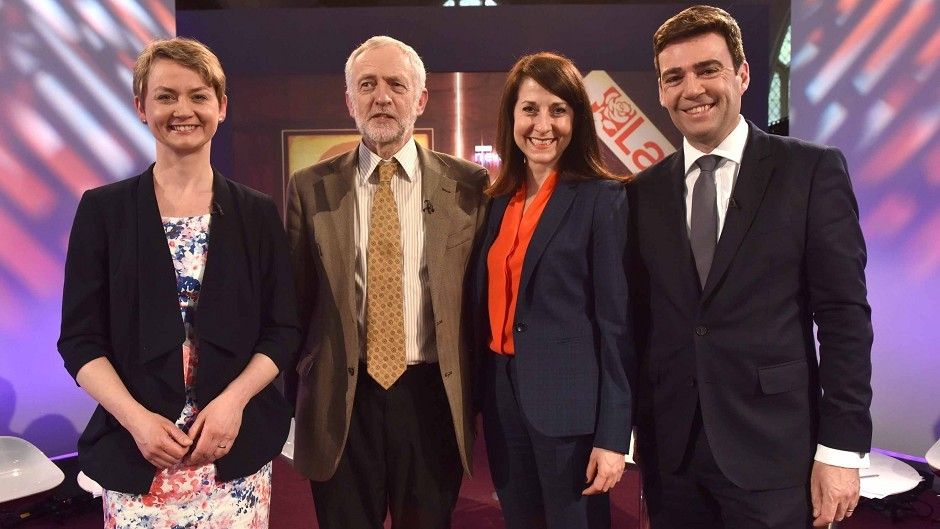 Labour leadership contestants Yvette Cooper, Jeremy Corbyn, Liz Kendall and Andy Burnham. FACT 5: He says that rail franchises should be taken back into public ownership.