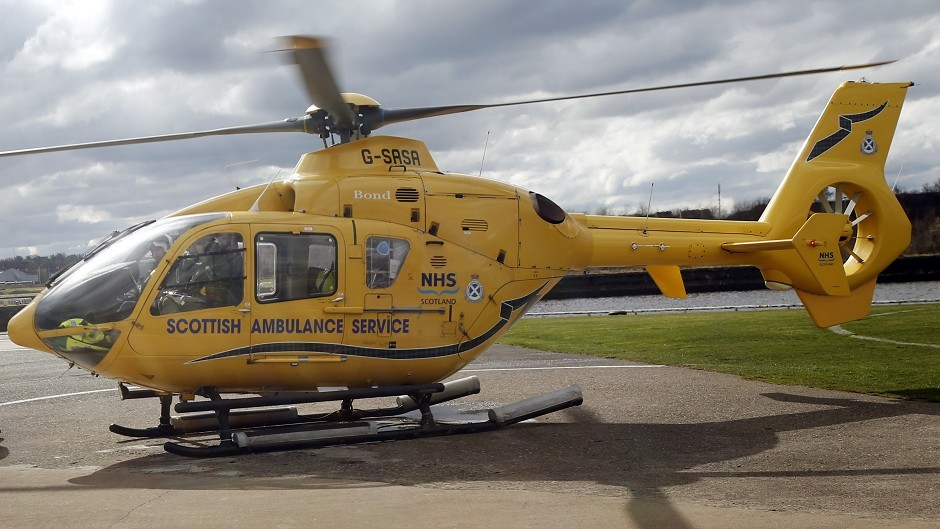 The man was airlifted to hospital