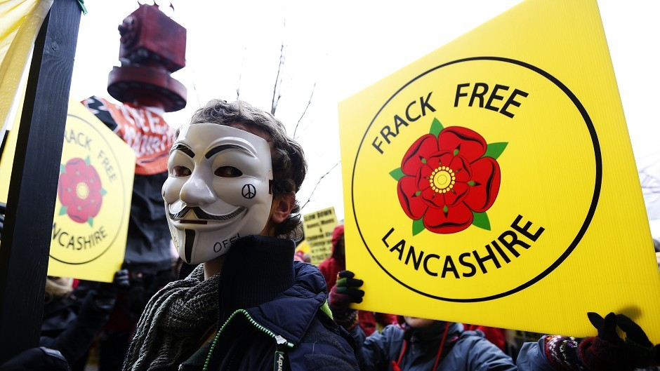 Fracking protesters outside Lancashire County Council in January