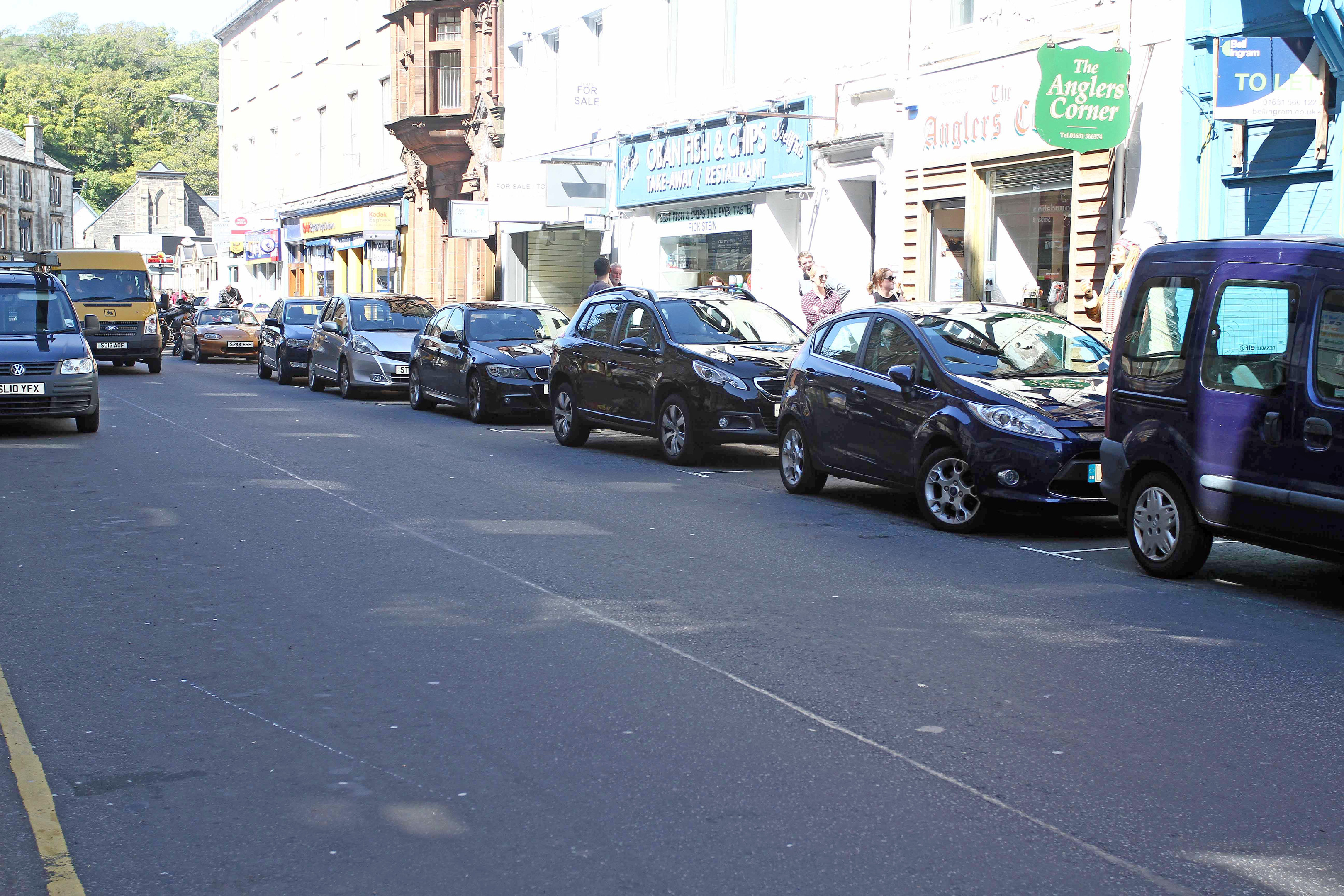 Cars parked in George Street Oban where parking charges are under revue in the town of Oban picture kevin mcglynn