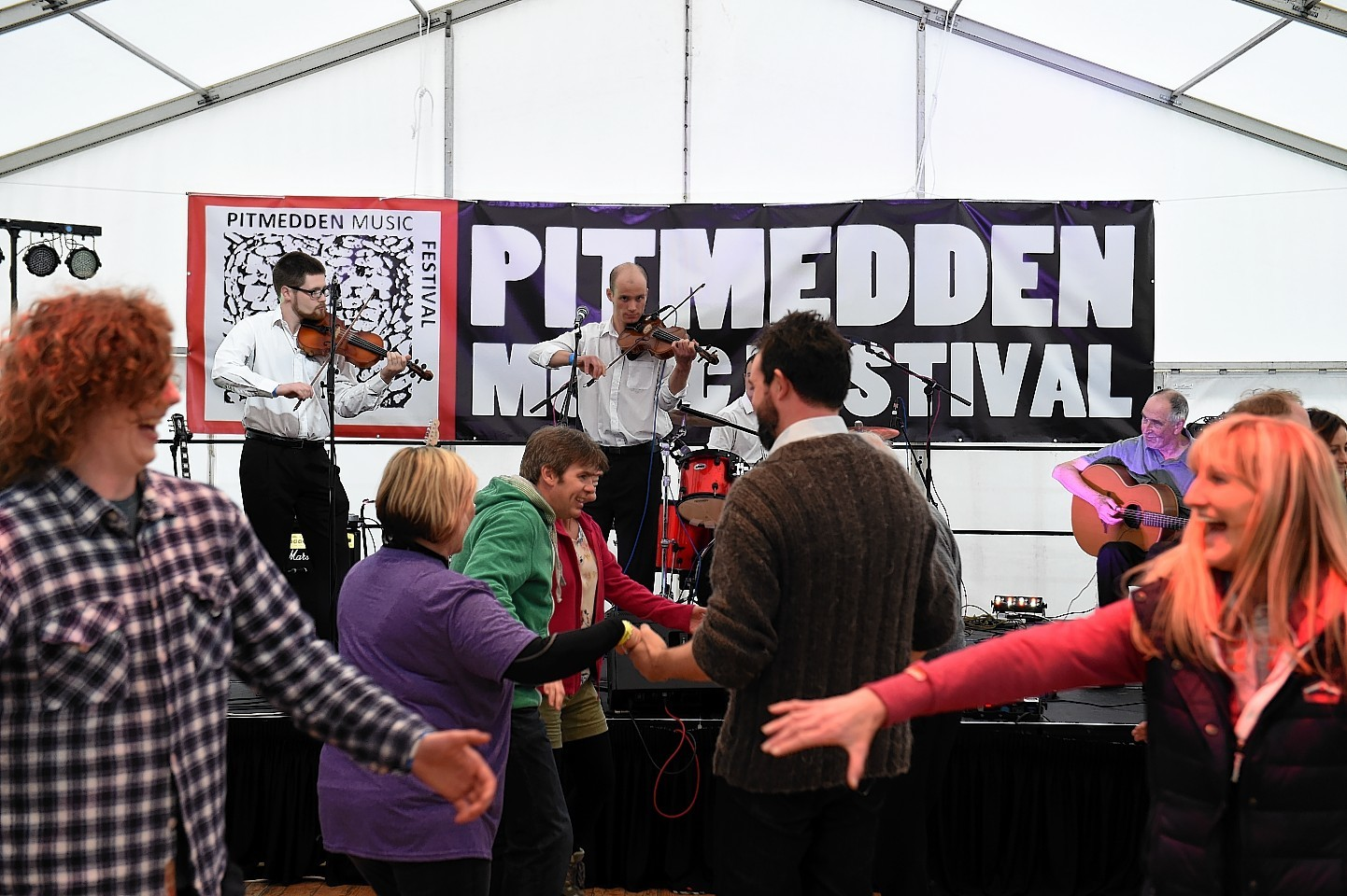 Pitmedden Music Festival 2015, at Pitmedden Gardens. Picture of Craibstone Ceilidh Band on stage. Picture by KENNY ELRICK