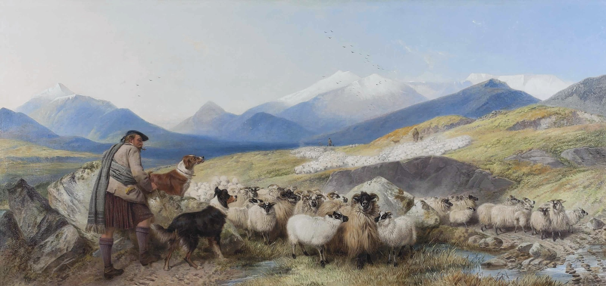 The Sheep Gathering in the Glen painting has gone on the market for £100,000