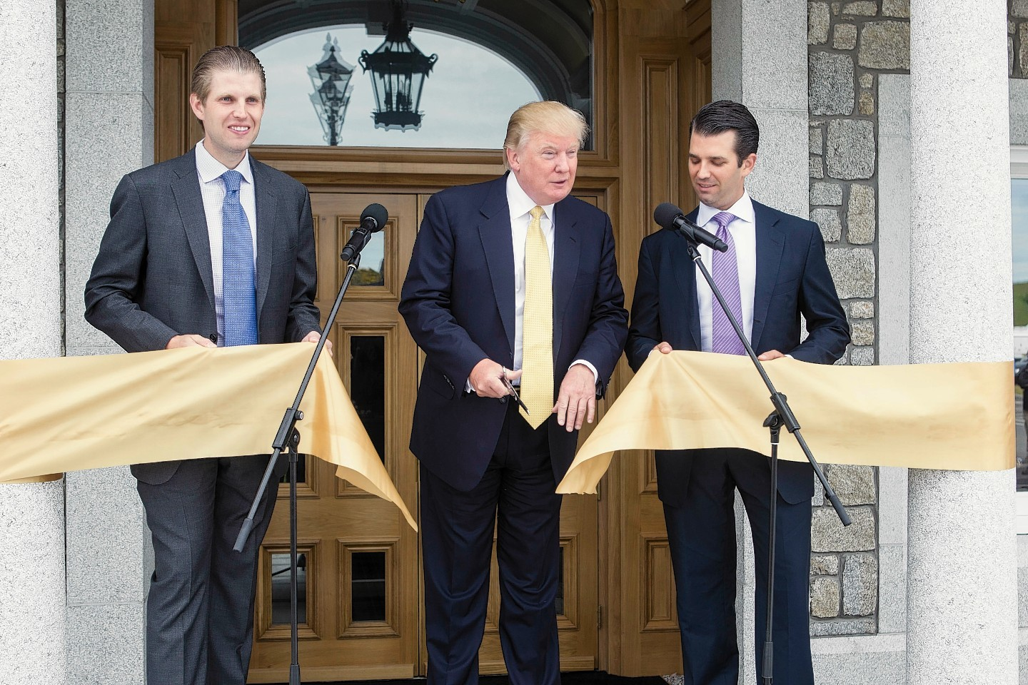American Billionaire Donald Trump visits his Aberdeenshire Golf Course at Menie to open the new clubhouse