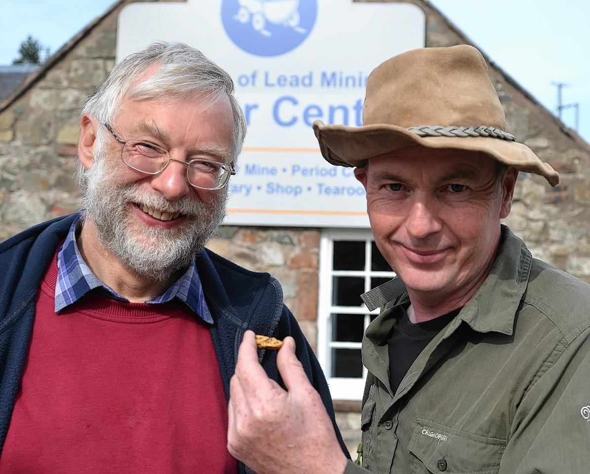 Wanlockhead Museum of Lead Mining Trustee Gerard Godfrey and gold panning expert Leon Kirk