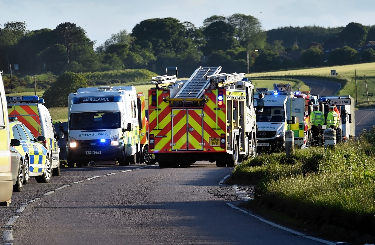 The scene of the crash on the A92