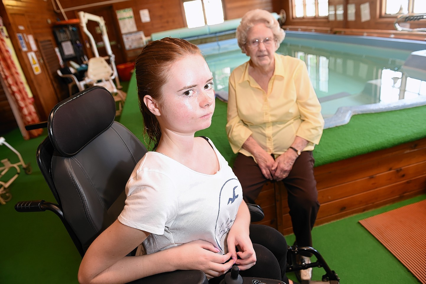 Hydrotherapy pool users, Lois Armour (21) of Grantown and Grace Bennet (80) of Nairn who are campaigning to keep the facility open.