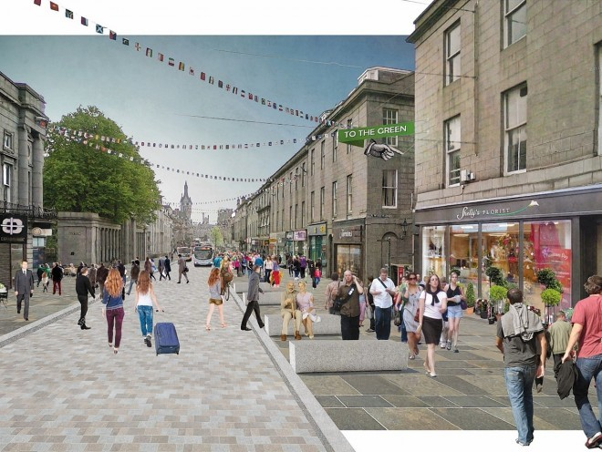This image shows a proposal to retain buses and taxis but to remove private cars and create wider pavements
