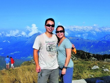 Daryl Law and Shereen Low at Matajur, in the Julian Alps