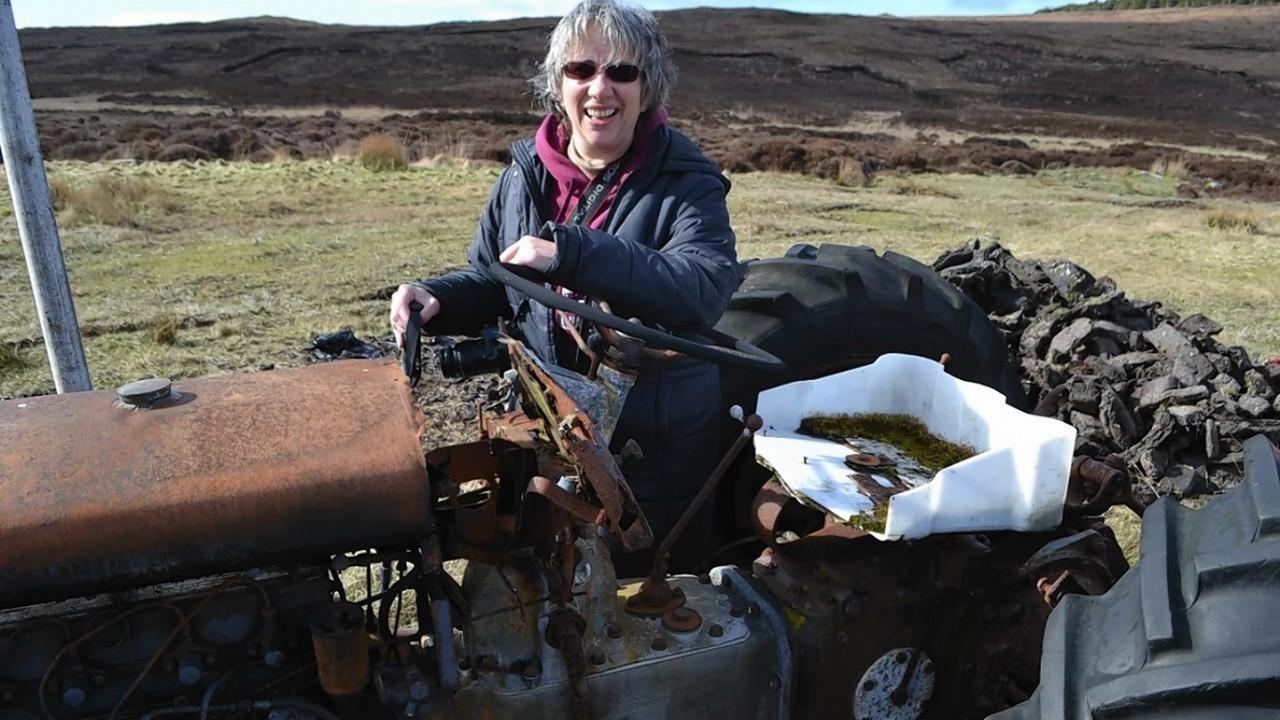Liz with the madeover tractor. Picture by Susy  Macauly