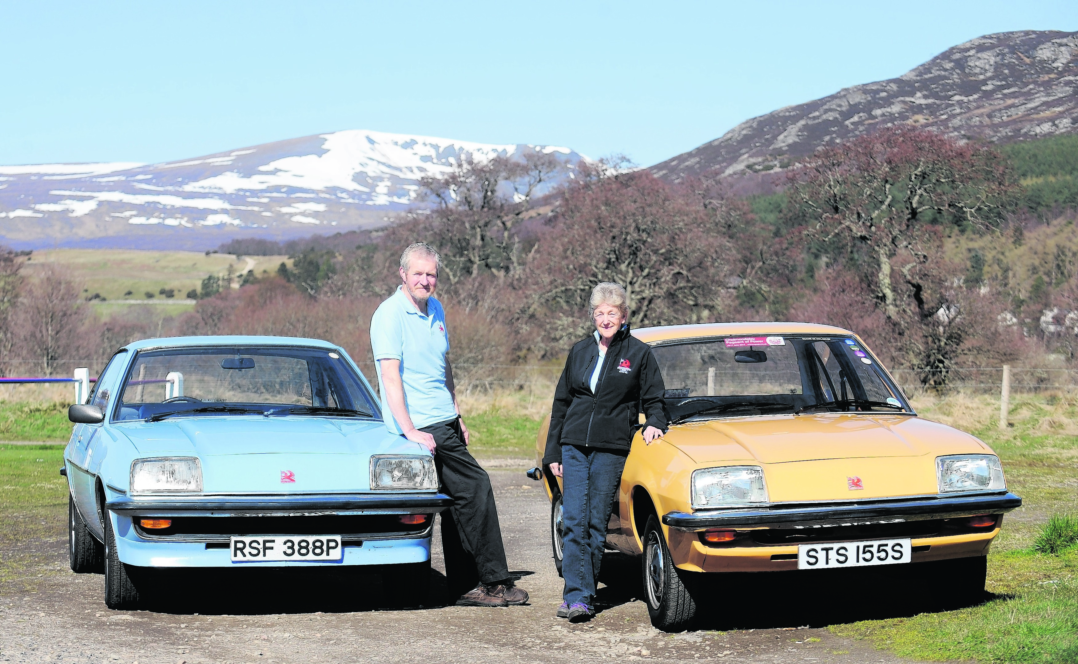 Marilyn and Colin Scott of Kingussie with their Vauxhall Cavaliers which they are hoping to take from Durness to Dover later this month