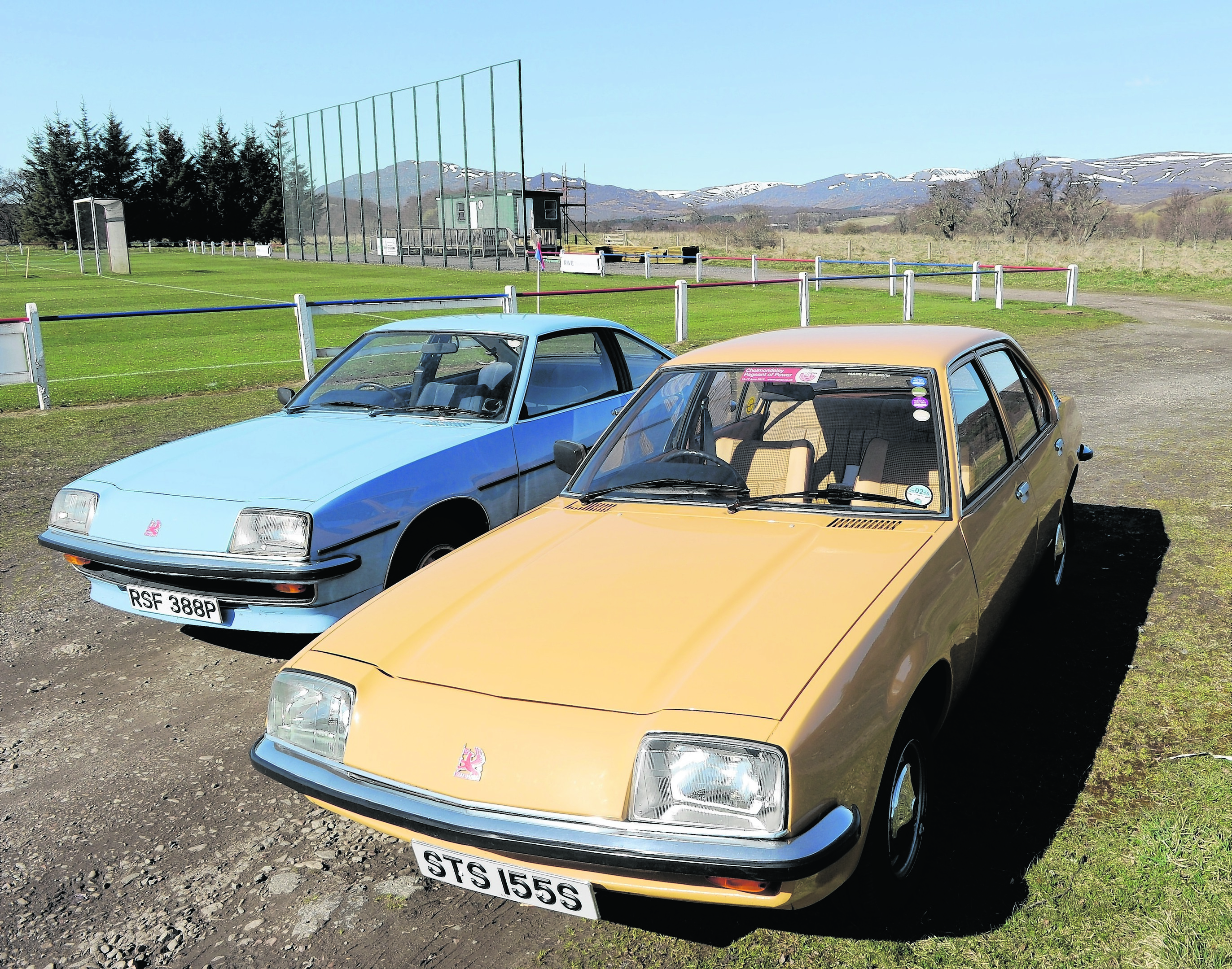 Picture by SANDY McCOOK    18th April '15 Marilyn and Colin Scott of Kingussie with their Vauxhall Cavaliers which they are hoping to take from Durness to Dover later this summer.