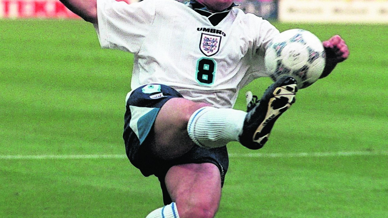 Paul Gascoigne in action during England's Euro 96 clash against Holland