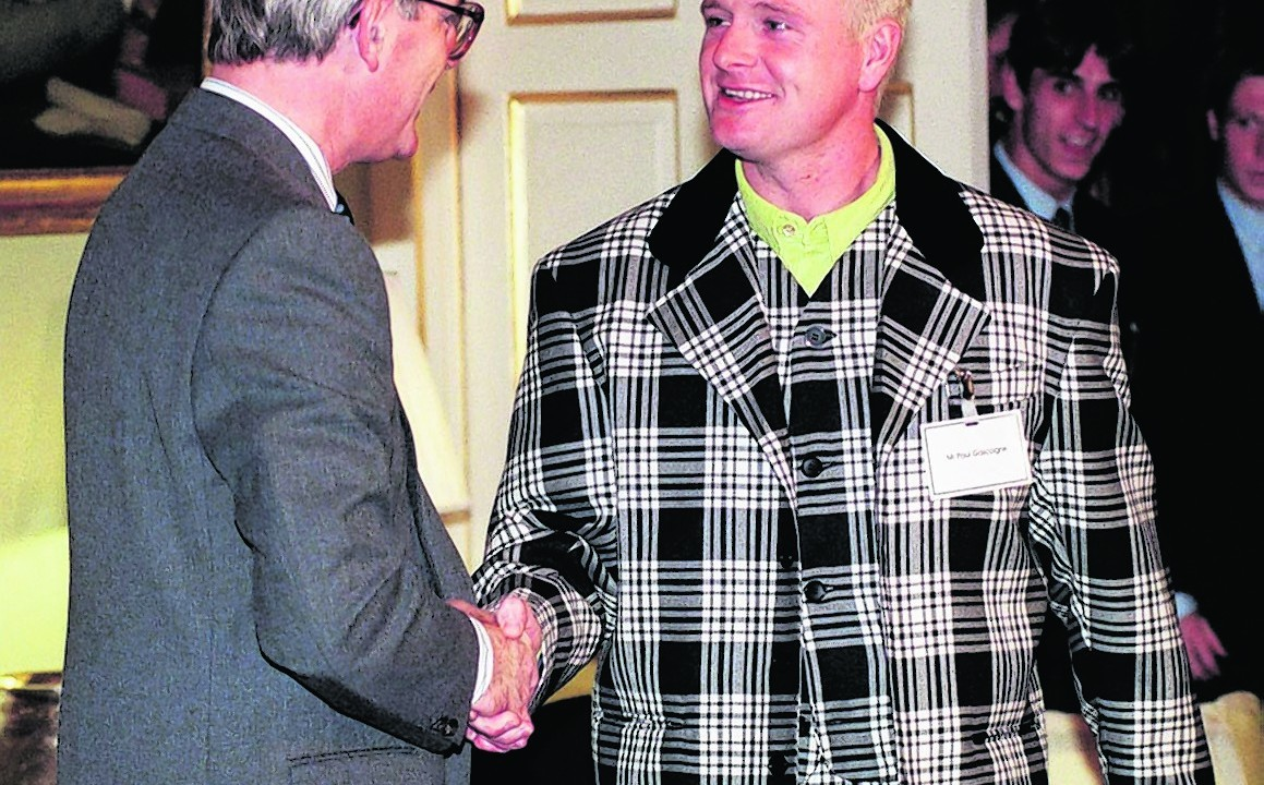 John Major shaking hands with Paul Gascoigne during a reception for sporting personalities at No.10