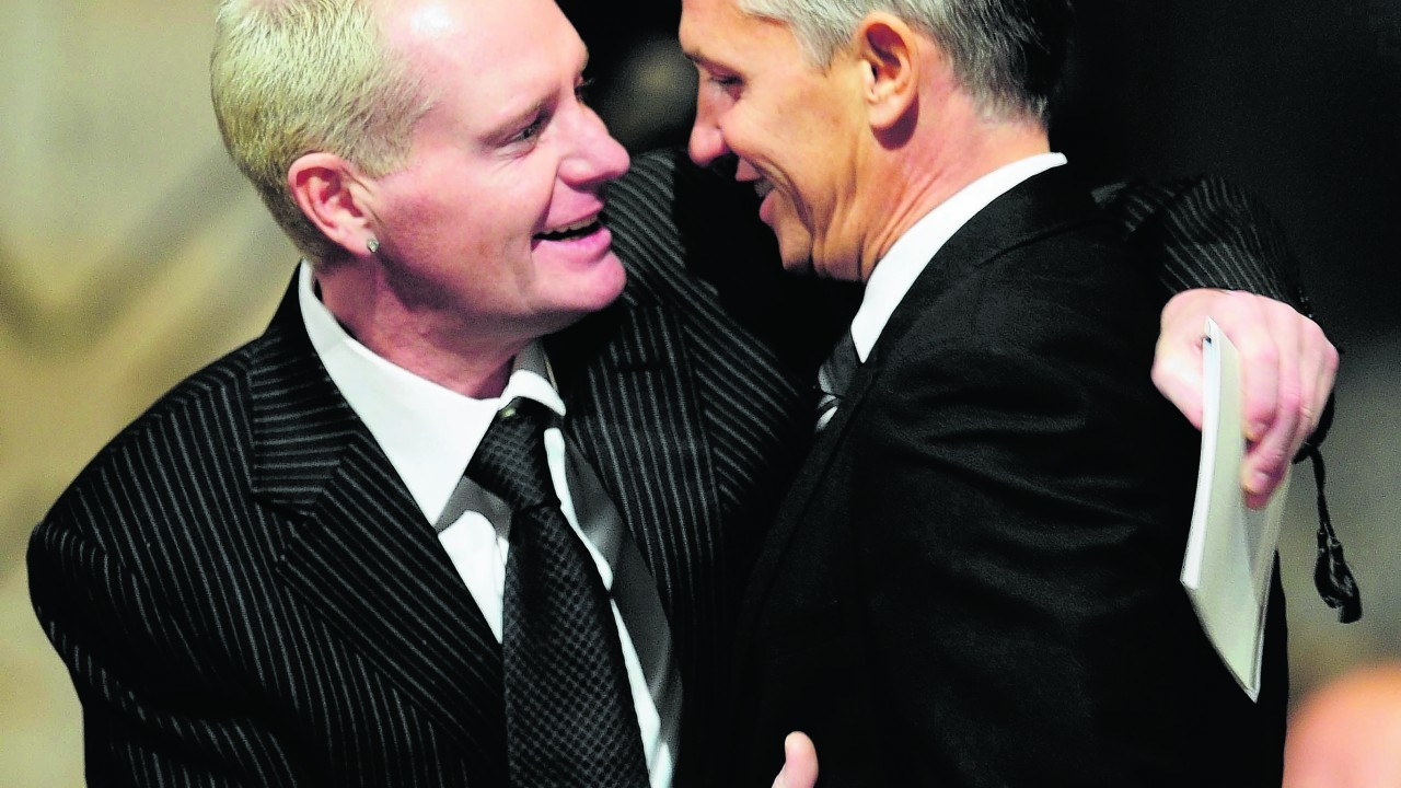 In 2009 with Gary Lineker before the Sir Bobby Robson Thanksgiving Service at Durham Cathedral