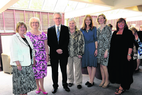 Maggie Alpine, Rita Esson, Ian Haw, Juliette Paton, Joanne Middlethon, Jane Mackie and Eleanor Bone at the ladies lunch in aid of CHILDREN 1st