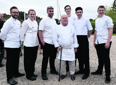 Chefs Will Torrent, Mikaela Wright, Mike Mathieson, Albert Roux, Alistair Birt, Gary Millar and Ronan Mellons at the Maggie's Highlands 10th birthday celebrations