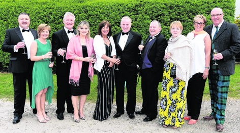 Paul and Amanda MacLeod with John and Lorraine Innes, Mairi MacCulloch, Don MacRae, Brian and Janice Orreck, Janet Reid and David MacKay