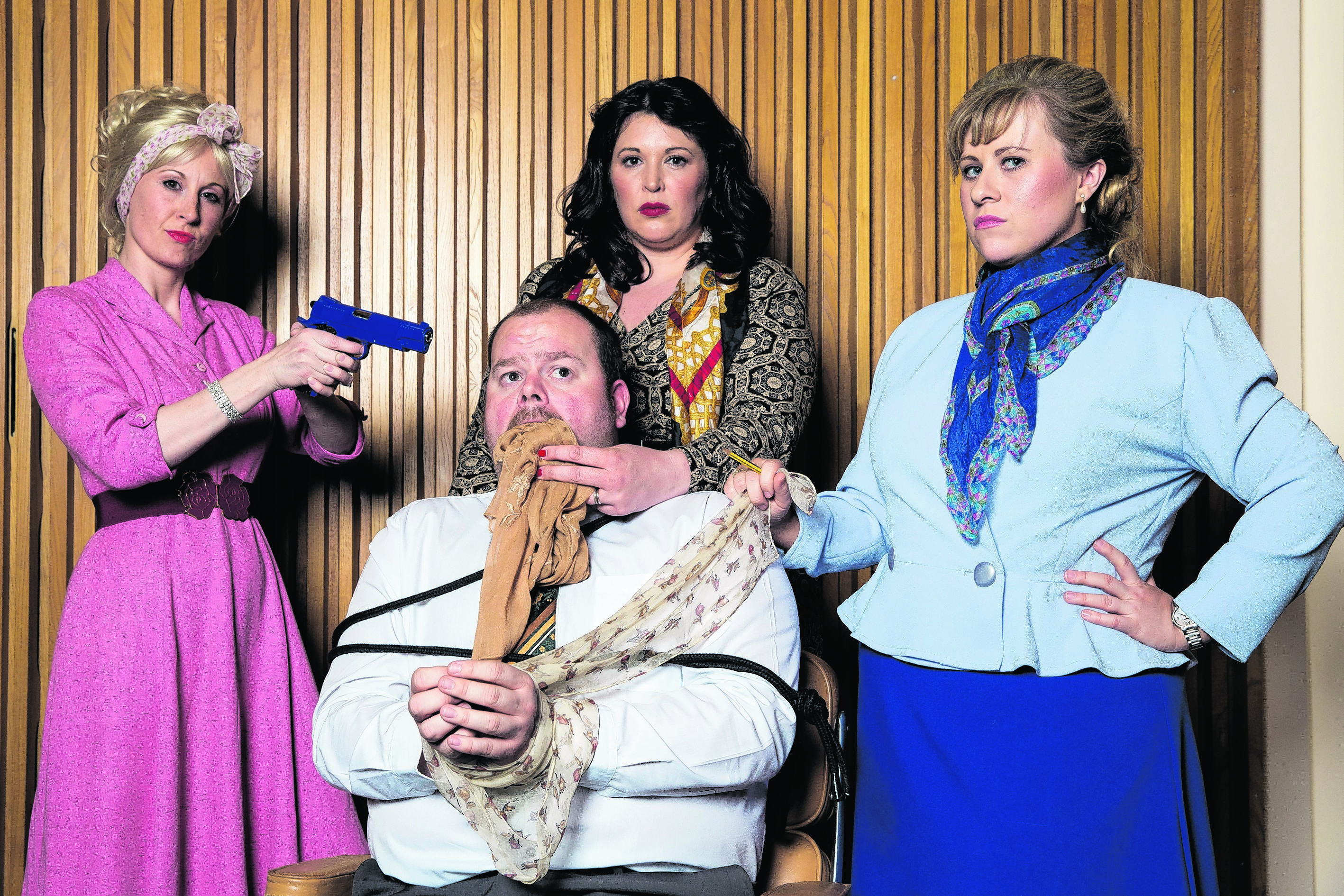 From left: Leanne Craggs as Doralee Rhodes, Samantha Gray as Violet Newstead, Amanda Watt as Judy Bernly, with Scott Jamieson as Franklin Hart