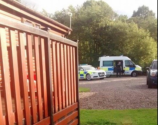 The scene of the Deeside Holiday Park last night