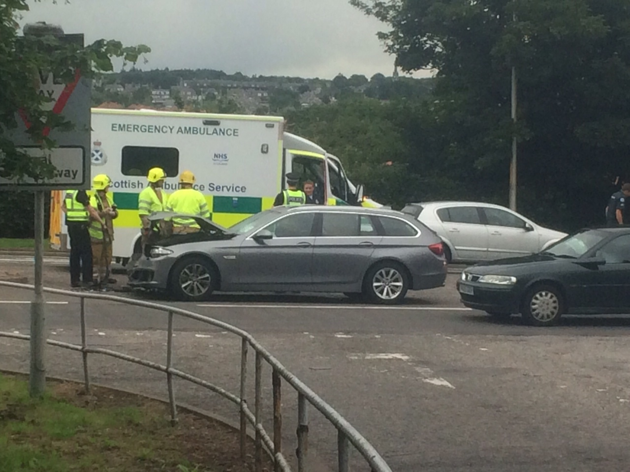 The scene of the crash on the A90
