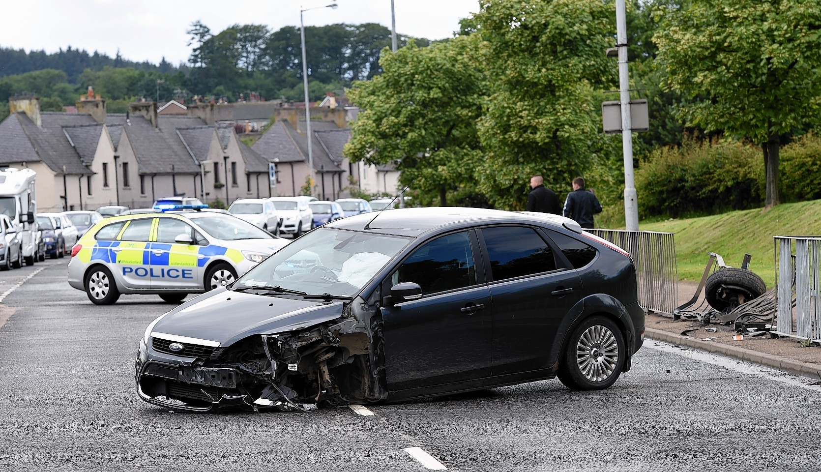 Police at the crash in Bucksburn