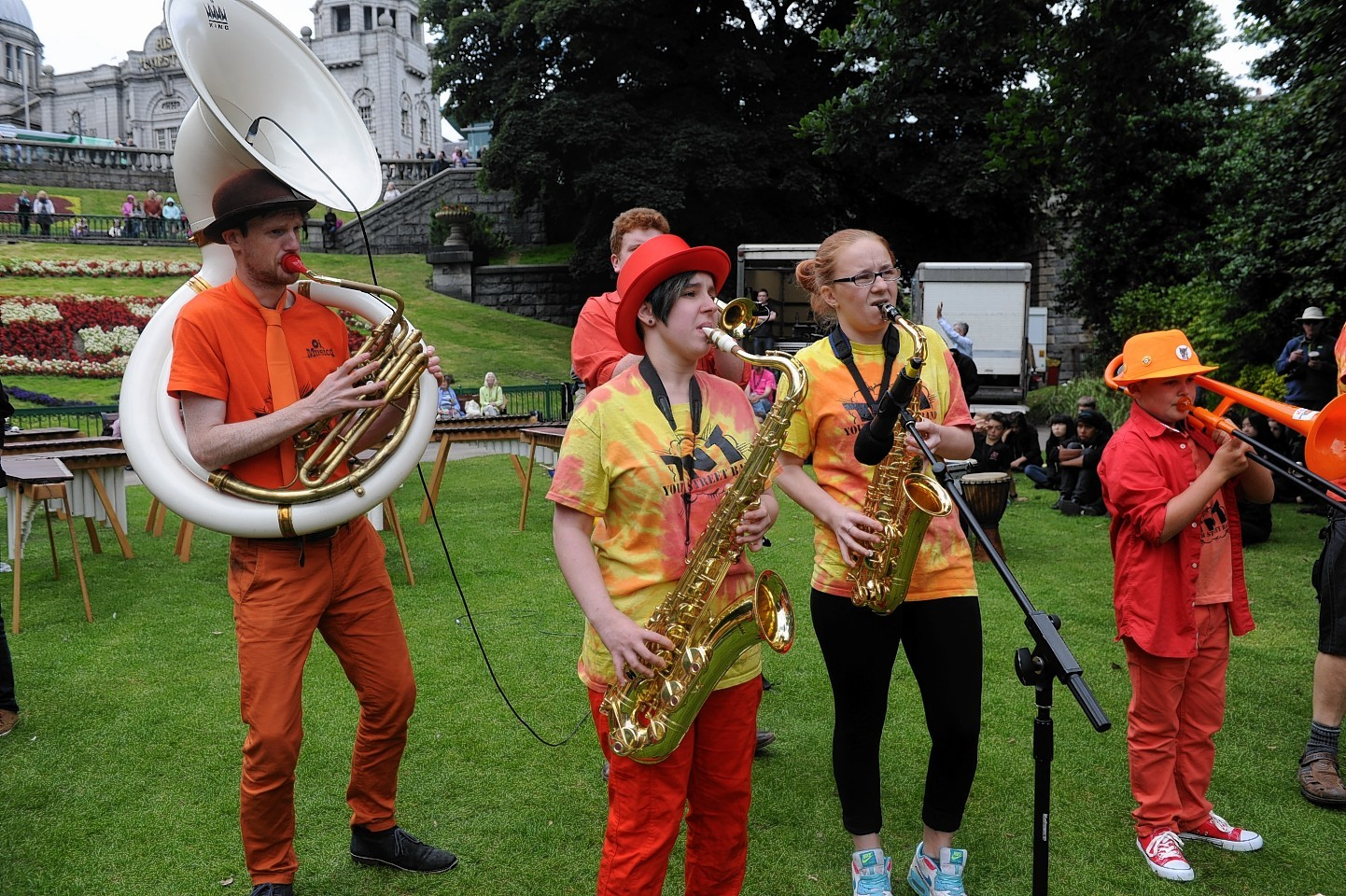Aberdeen International Youth Festival. Performers at Union Terrace Gardens.
