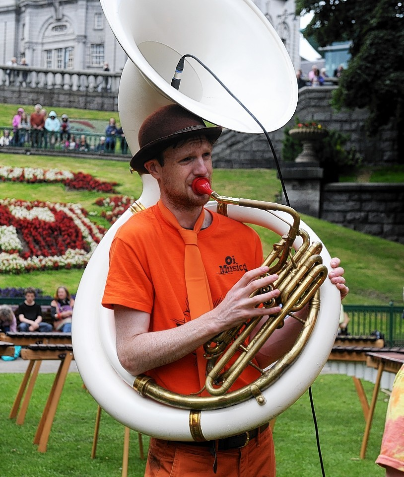Performers at Union Terrace Gardens for the Aberdeen International Youth Festival..