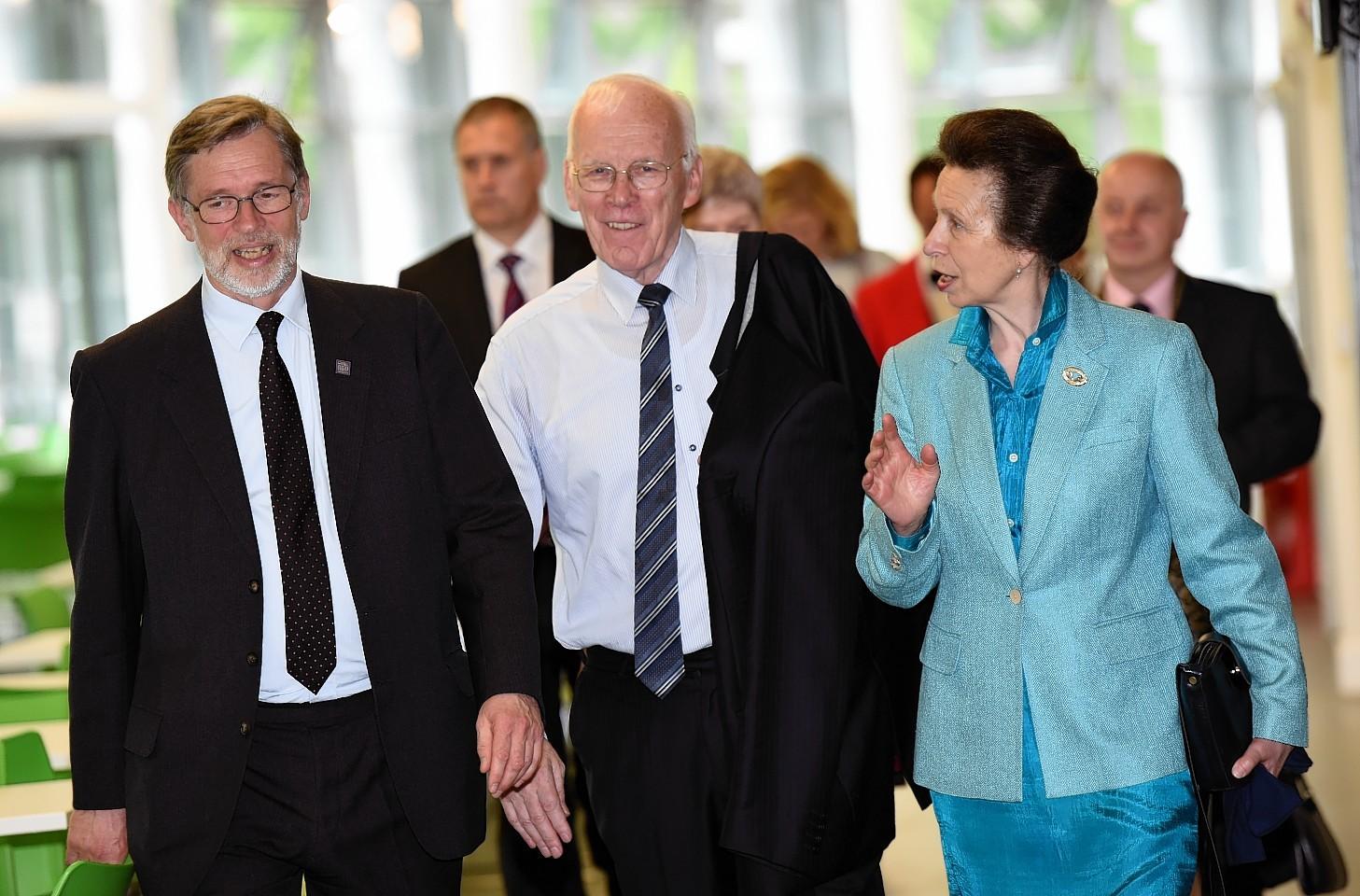 Princess Anne with Prof Ferdinand von Prondzynski and Sir Ian Wood.  Picture by Kami Thomson