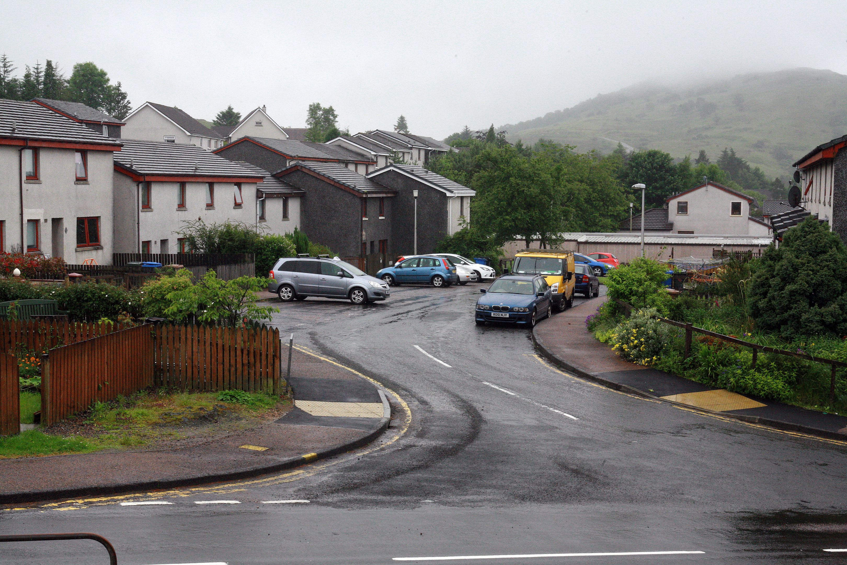 The area where the man approached the girls, in Banff Crescent