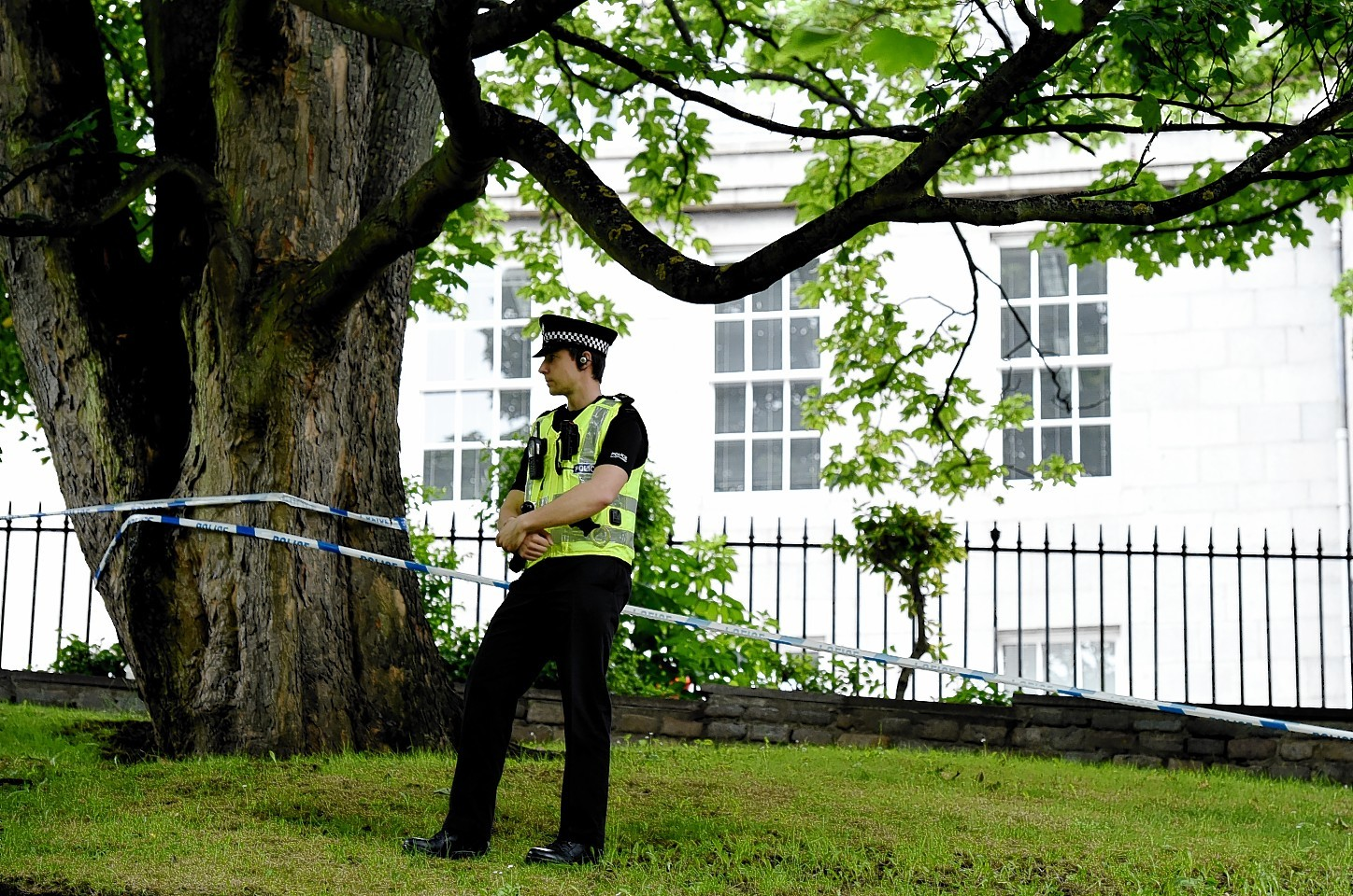 Police Scotland at a taped off area of Bon Accord Terrace Gardens. Picture by Kami Thomson