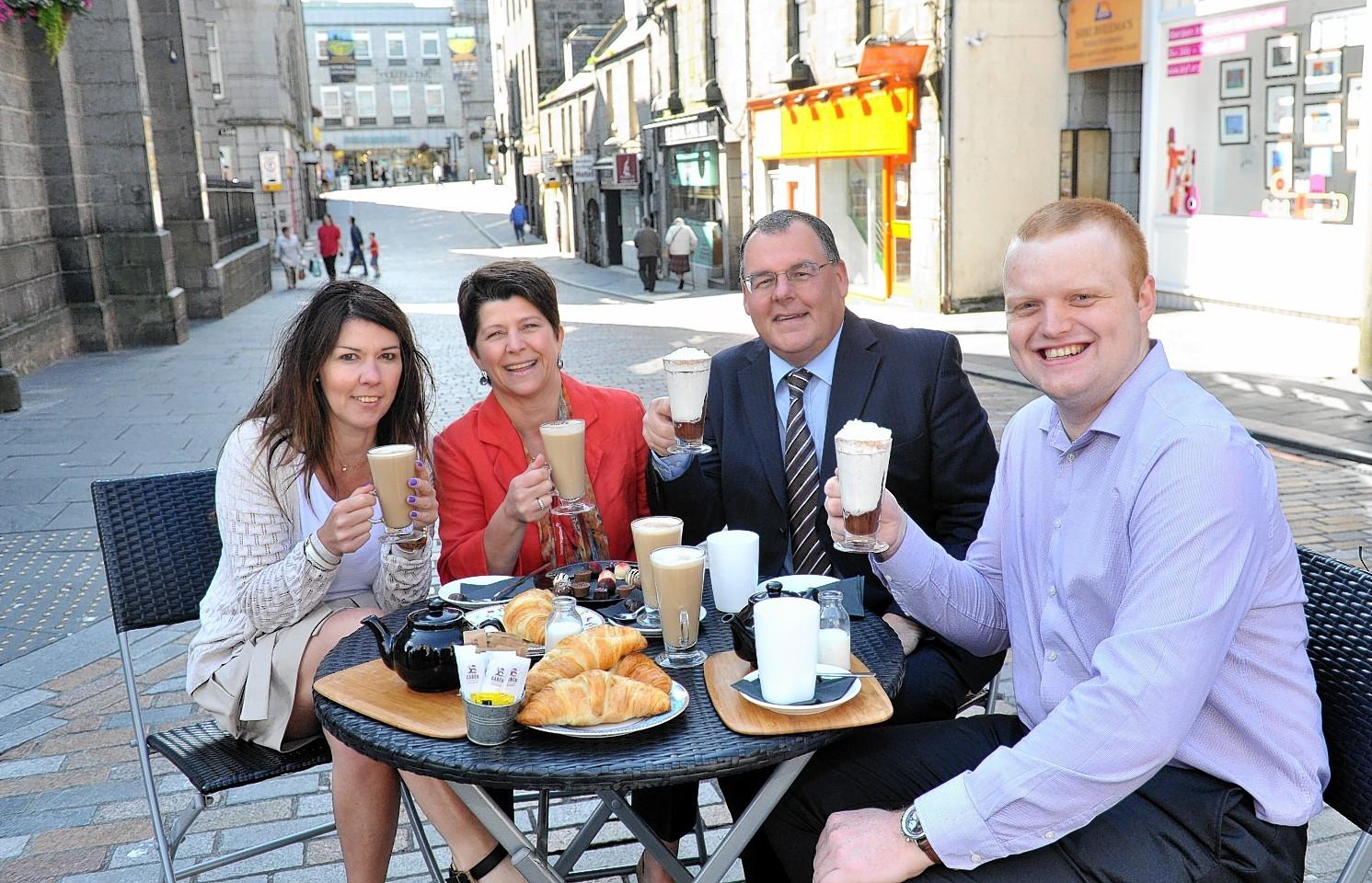Angela Kozak, director at Cup Tea Salon, Councillor Marie Boulton, Aberdeen Inspired chief executive Gary Craig and Jamie Hutcheon, Director of Cocoa Ooze