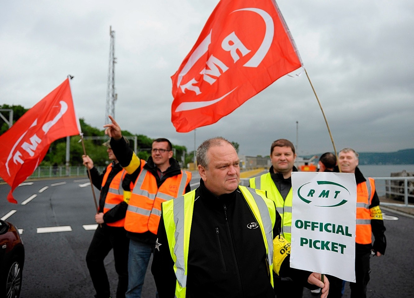 The RMT picket line outside the Calmac headquarters in Gourock