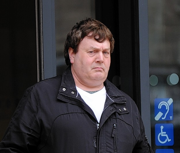 Charles Douglas leaving Elgin Sheriff Court.