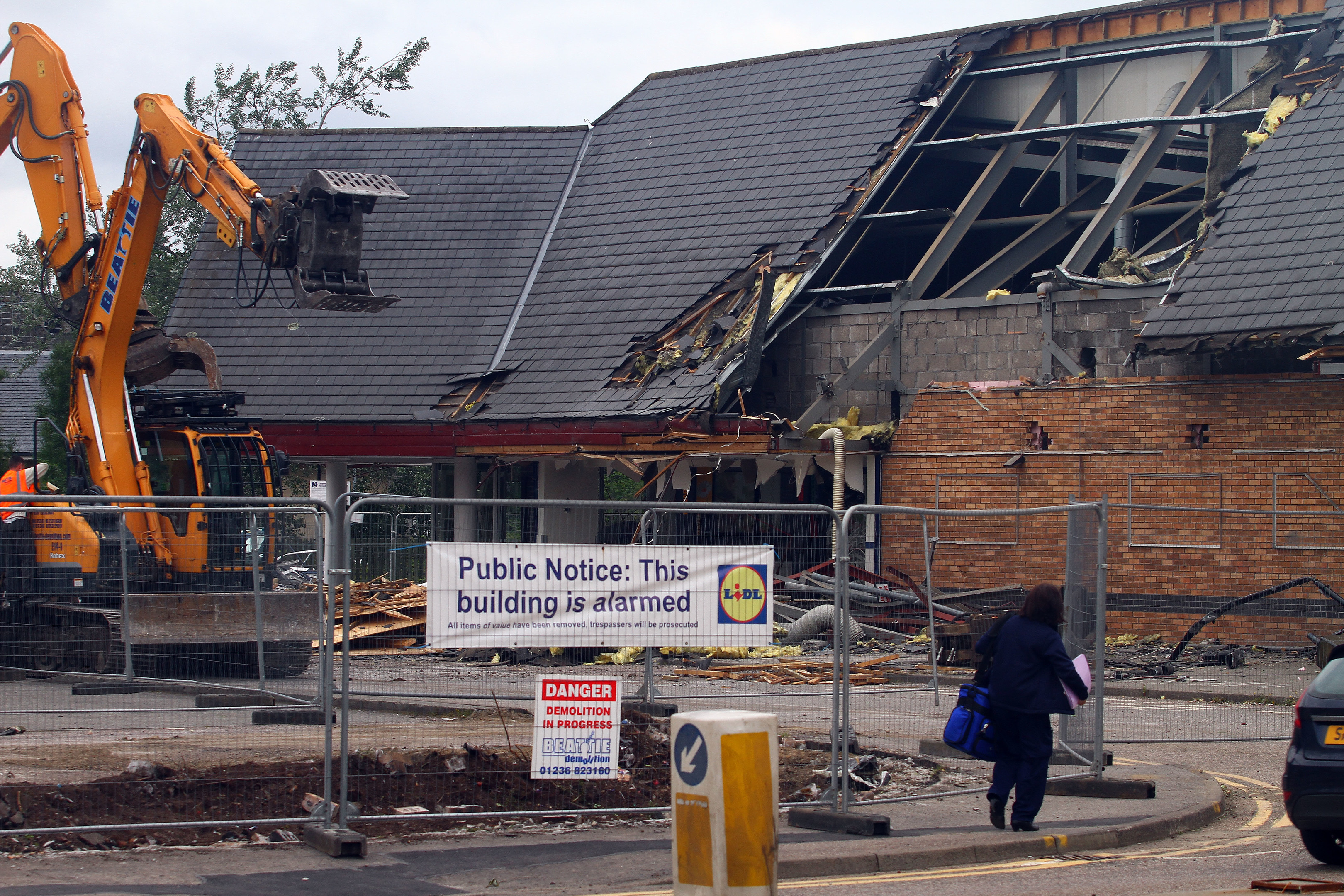 The end of an era as contractors and heavy plant demolish the former co-op building on soroba road to make way for a new Lidl supermarket.  The company have an existing site at Lochavullin in Oban picture kevin mcglynn